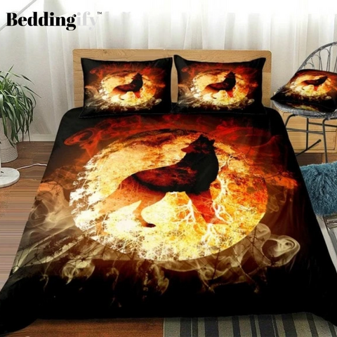 Image of Flam-Background Howling Wolf  Bedding Set - Beddingify