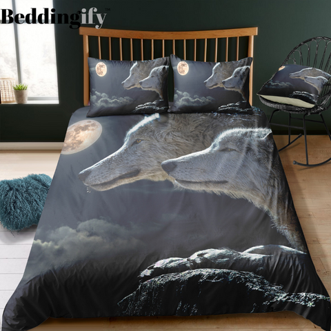 Image of Wolves Couple Bedding Set - Beddingify