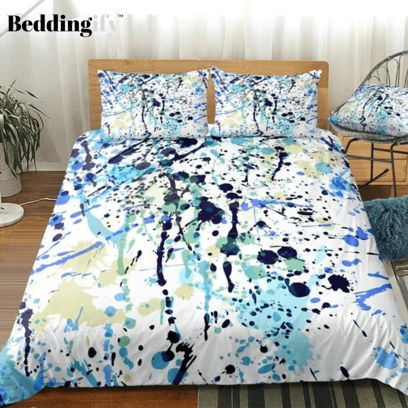 Watercolor Splatter Black Blue Bedding Set - Beddingify