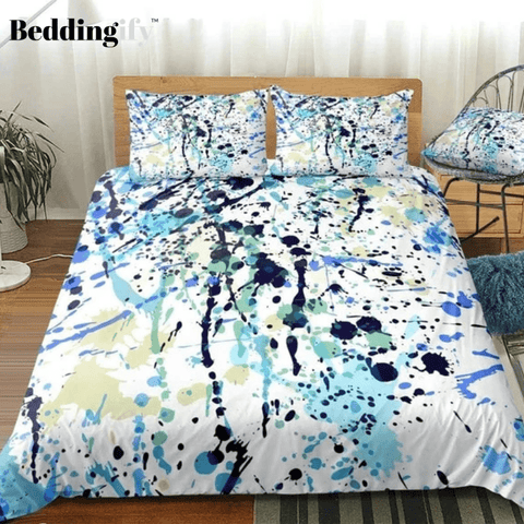 Image of Watercolor Splatter Black Blue Bedding Set - Beddingify
