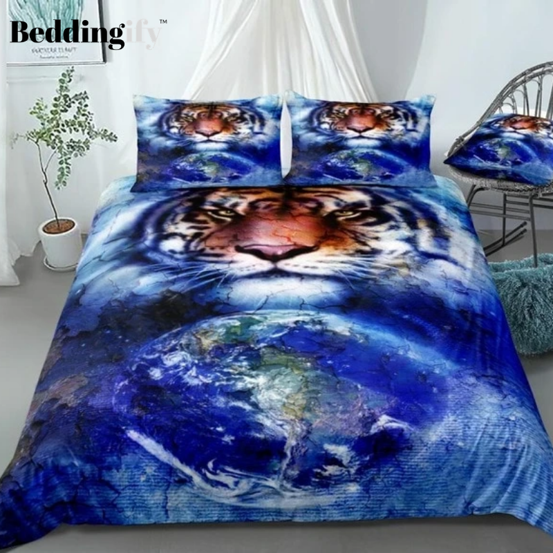 Blue Cosmic Space Tiger Bedding Set - Beddingify