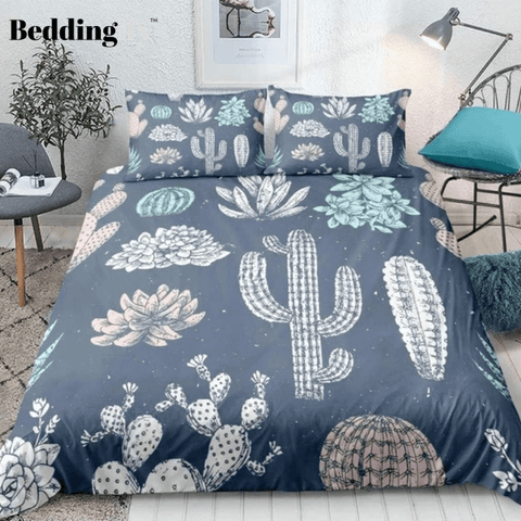 Image of Cartoon Tropical Cactus Bedding Set - Beddingify
