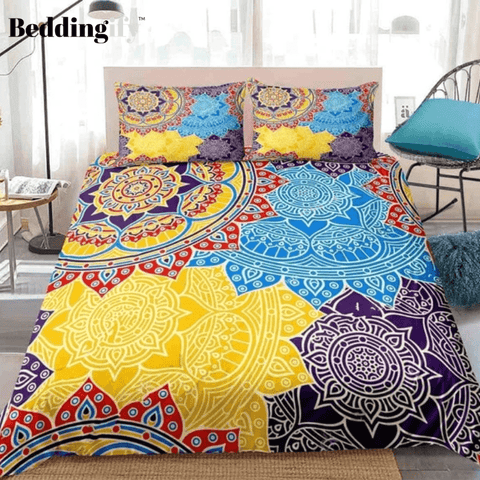 Image of Mandala Blue Yellow Boho Flowers Bedding Set - Beddingify