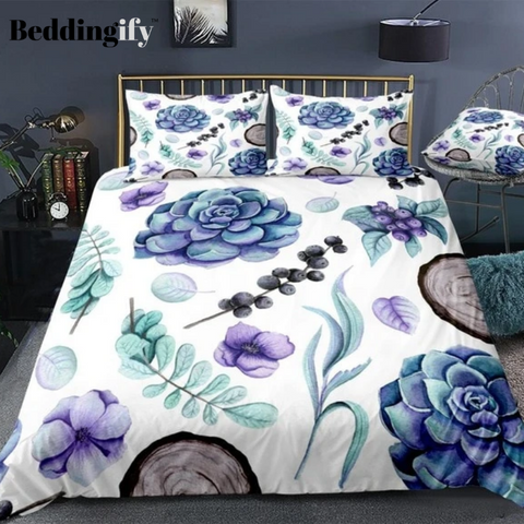 Image of Succulent Violet Flowers and Wood Bedding Set - Beddingify