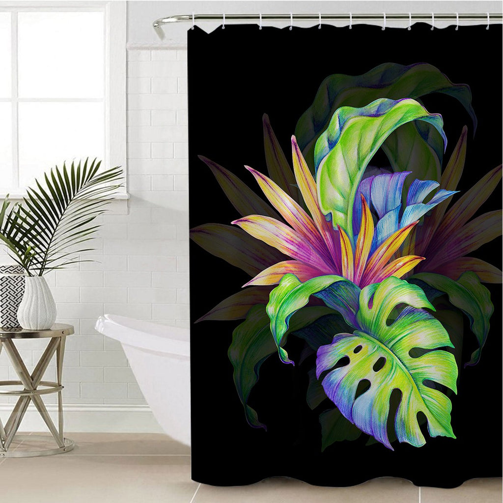 3D Exotic Leaves Shower Curtain