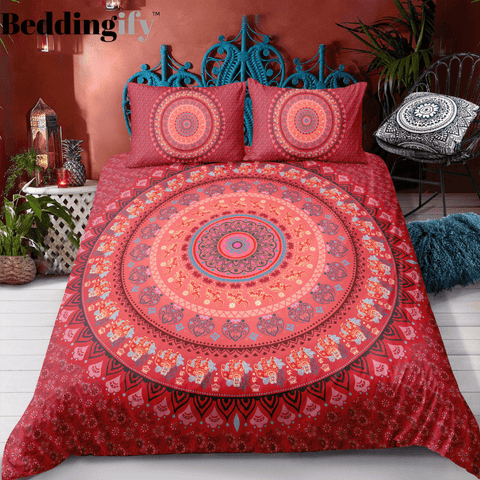 Image of Red Mandala Pattern Bedding Set - Beddingify