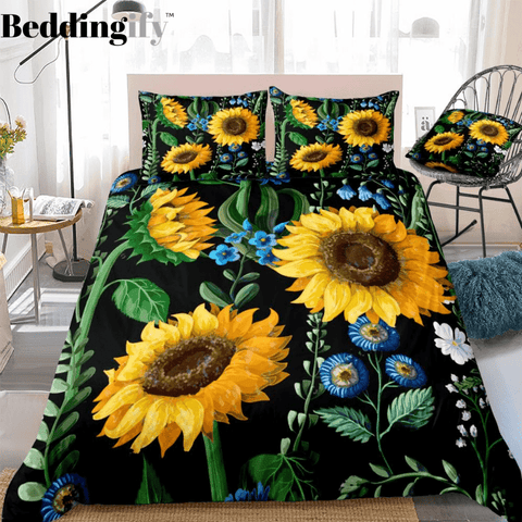 Image of Floral Black Sunflower Bedding Set - Beddingify