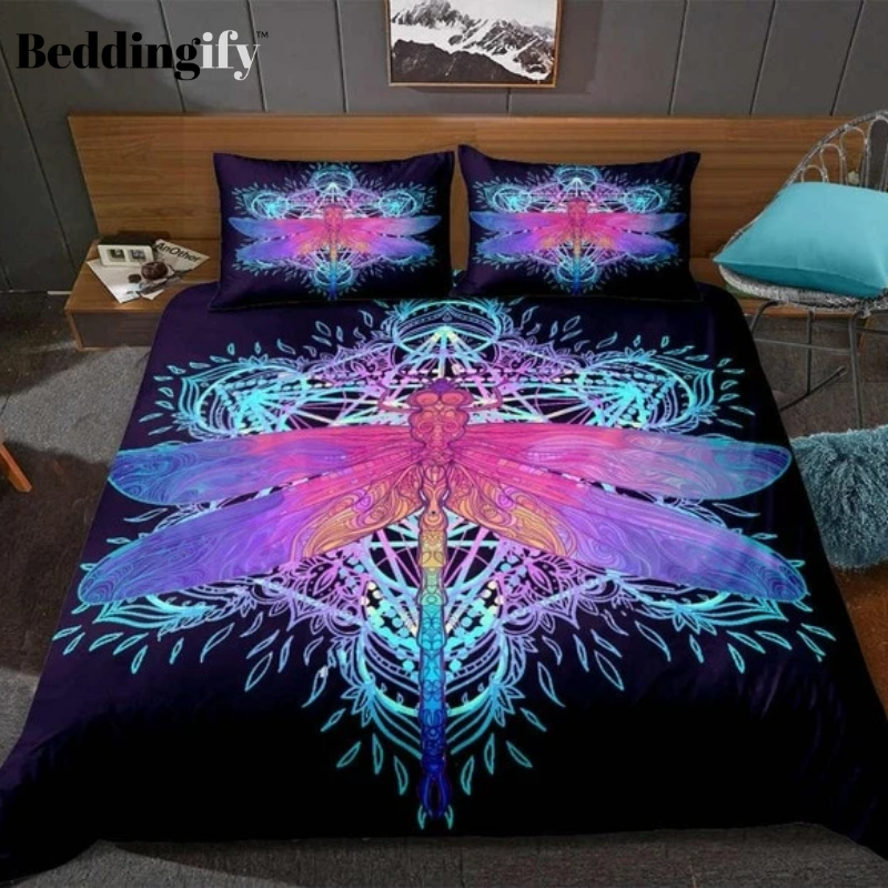 Colorful Dragonfly Pattern Bedding Set - Beddingify