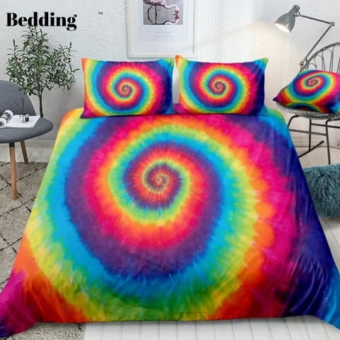 Image of Hippie Rainbow Tie Dye Bedding Set - Beddingify