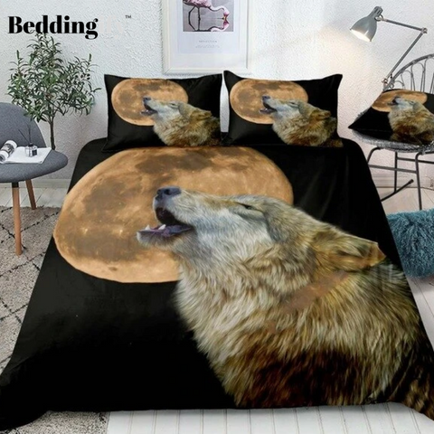 Yellow Moon Howl Wolf Bedding Set - Beddingify
