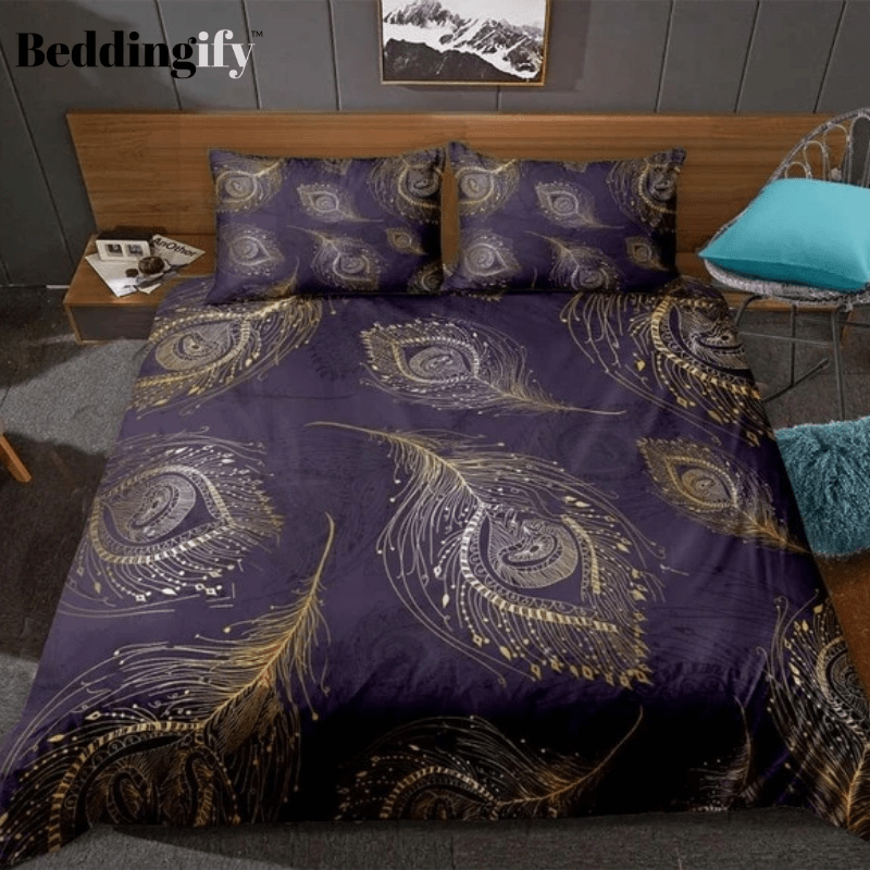Bohemian Retro Feathers Print Bedding Set - Beddingify