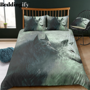 Black and White Wolves Bedding Set