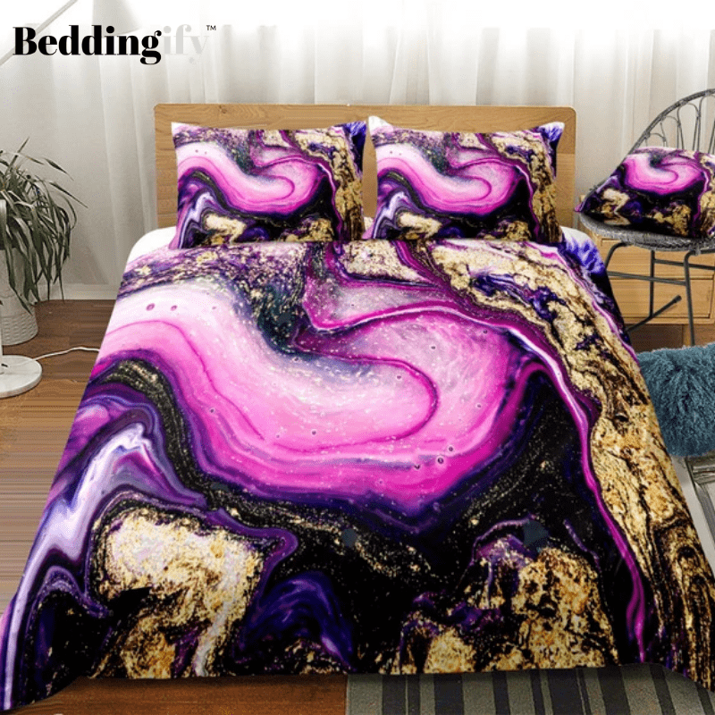 Pink Purple Tie Dyed Bedding Set - Beddingify