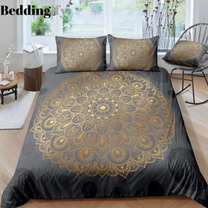 Gold Grey Mandala Pattern Bedding Set - Beddingify