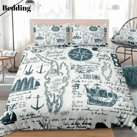 Vintage Style Compass Map Bedding Set - Beddingify