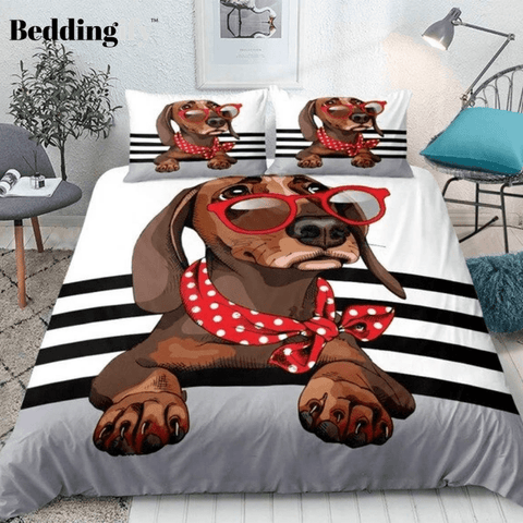 Image of Trendy Dachshund Bedding Set - Beddingify