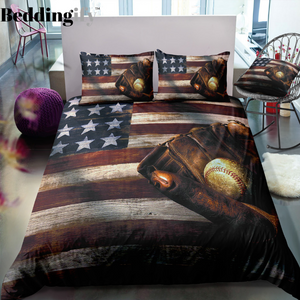 Vintage Baseball Flag Bedding Set