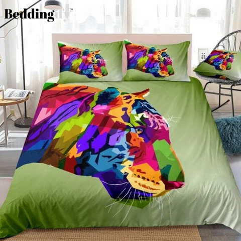Image of Colorful Pattern Tiger Bedding Set - Beddingify