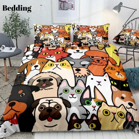 Image of Cartoon Pets Faces Bedding Set - Beddingify