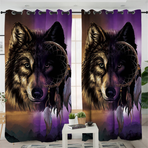 Image of Tribal Wolf Dream Catcher 2 Panel Curtains