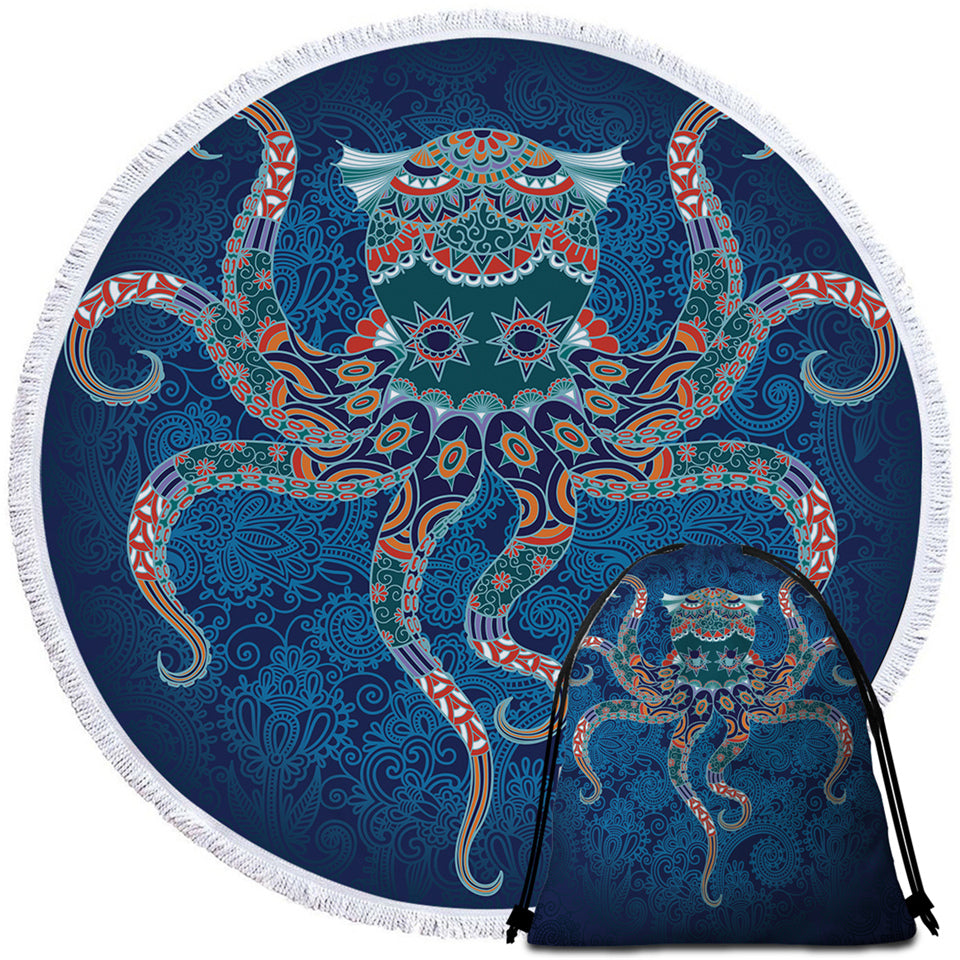 Stylized Octopus Round Beach Towel Set - Beddingify