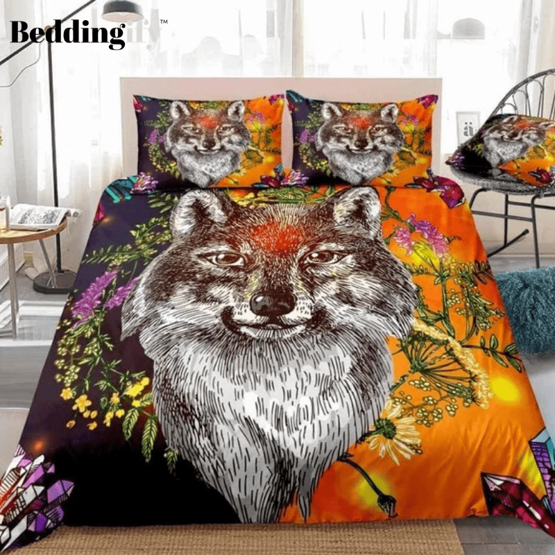 Boho Wolf Bedding Set - Beddingify
