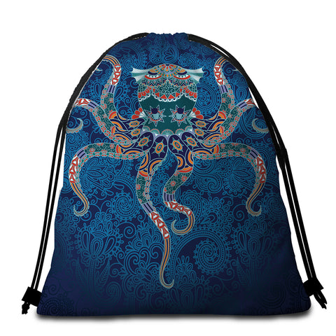 Image of Stylized Octopus Round Beach Towel Set - Beddingify