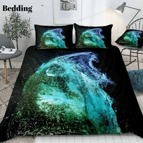 Image of Lion Water Abstract Splash Bedding Set - Beddingify