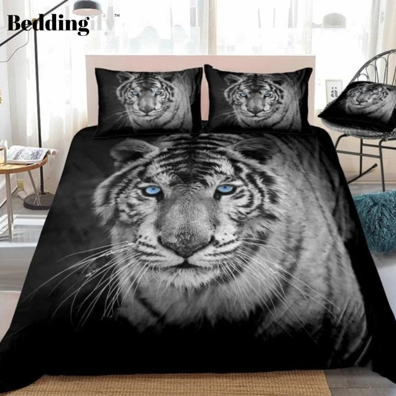 3D White Tiger Bedding Set - Beddingify