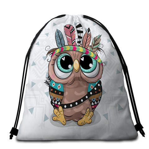 Image of Cute Tribal Owl Round Beach Towel Set - Beddingify