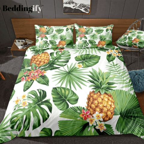 Image of Pineapples Green Palm Leaves Bedding Set - Beddingify