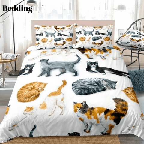 Watercolor Cats Bedding Set - Beddingify