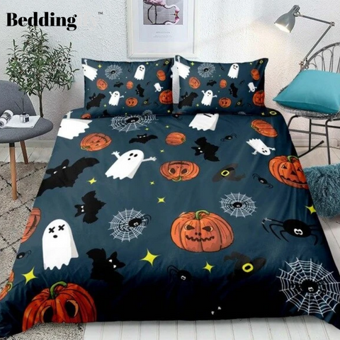Image of Halloween Bat with Pumpkin Bedding Set