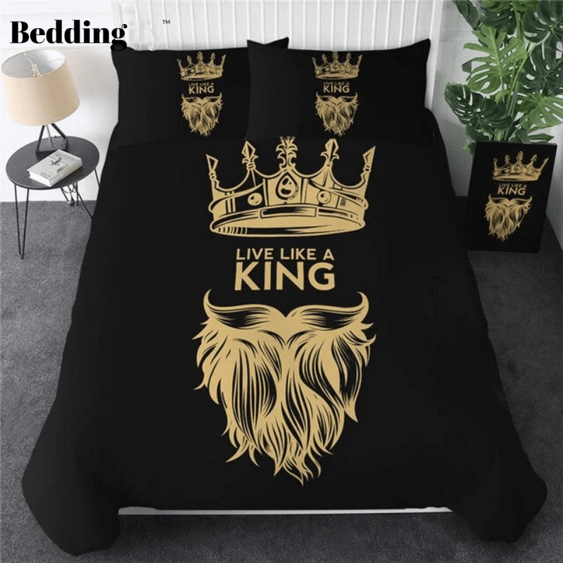 Black Yellow Fashion Crown Bedding Set - Beddingify