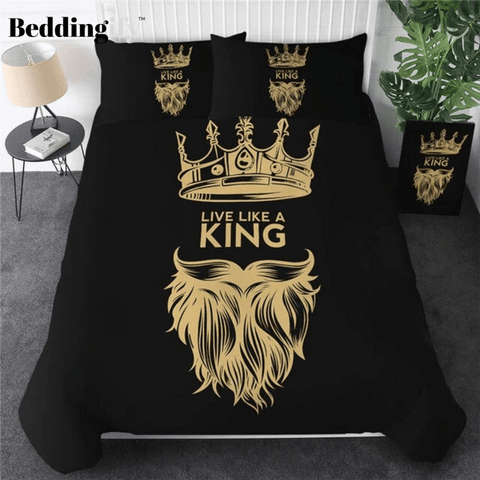 Image of Black Yellow Fashion Crown Bedding Set - Beddingify