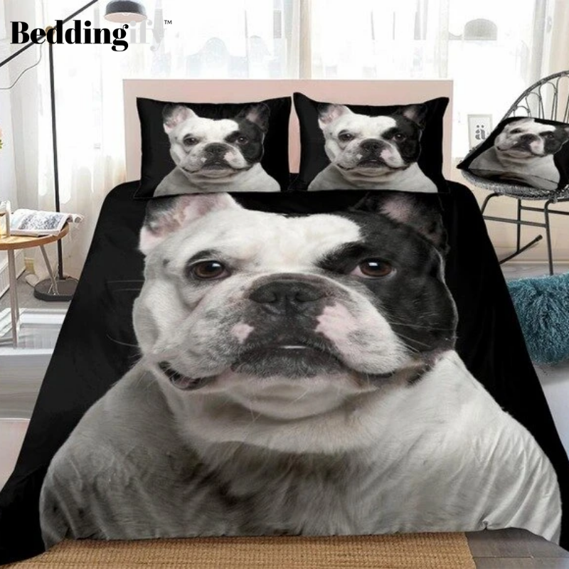 3D Black White Bulldog Bedding Set - Beddingify