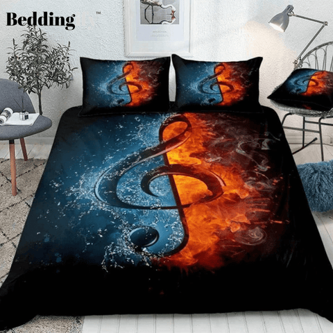 Image of Music Note in Fire and Water Bedding Set - Beddingify