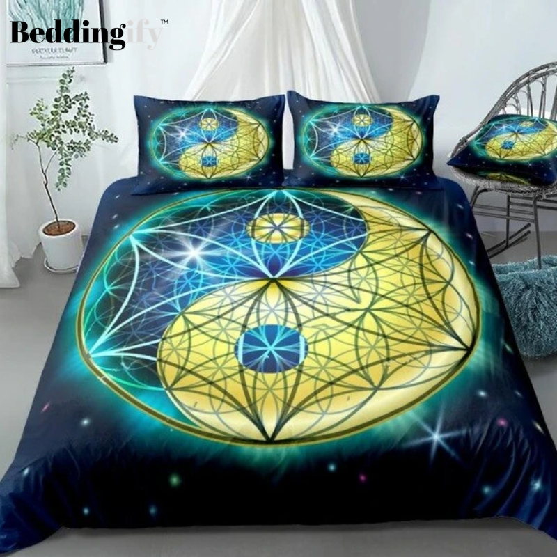 Galaxy Geometry Blue Yellow Yin Yang Bedding Set - Beddingify