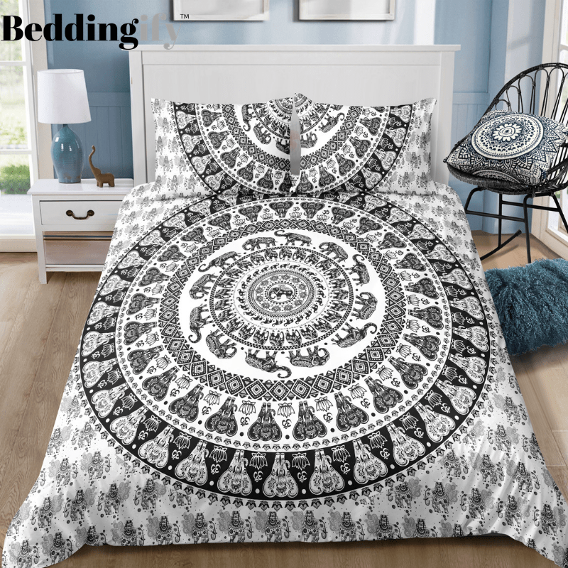 Tribal Black White Mandala Pattern Bedding Set - Beddingify
