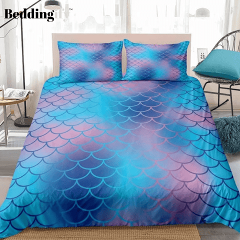 Image of Blue Purple Mermaid Scale Bedding Set - Beddingify