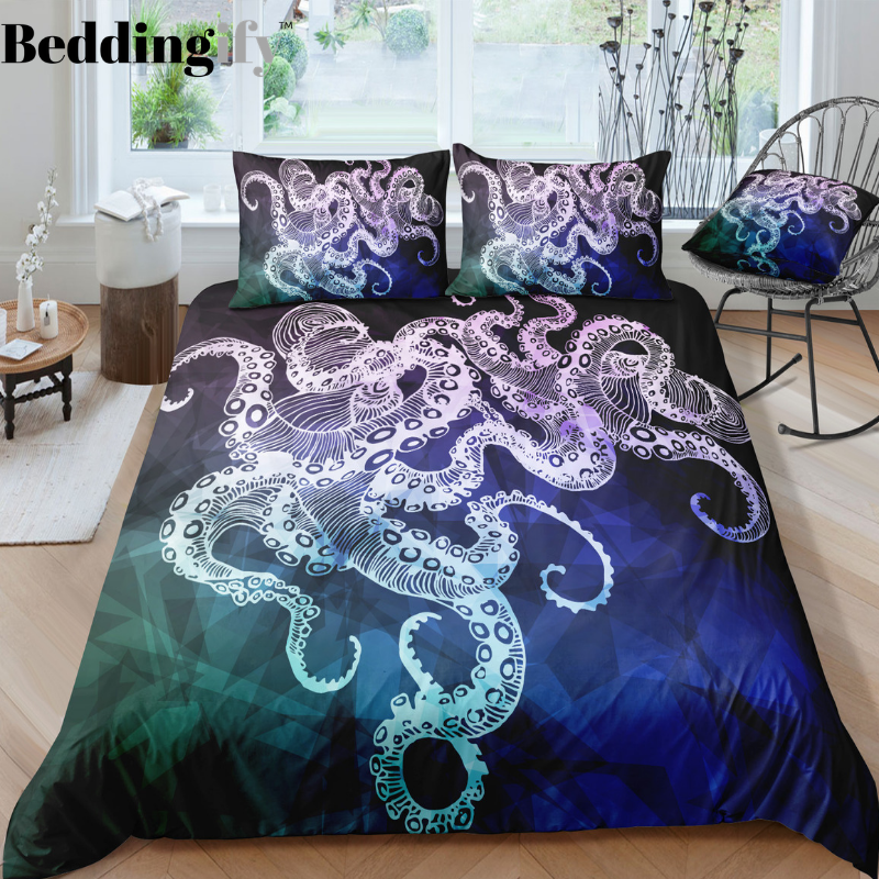 Deep Blue Octopus Bedding Set - Beddingify