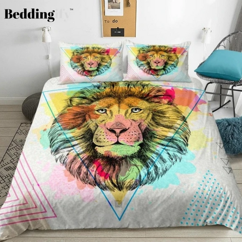 Image of Watercolor Triangle Lion Bedding Set - Beddingify