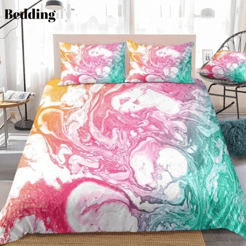 Image of Colorful Yellow Red Green Quicksand Bedding Set - Beddingify