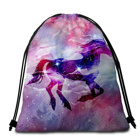 Image of Nebula Unicorn Round Beach Towel Set - Beddingify