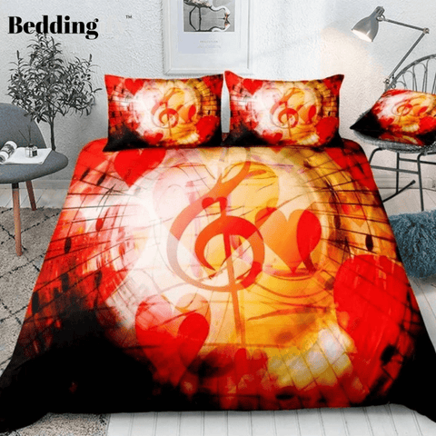 Image of Music Notes Red Hearts Bedding Set - Beddingify