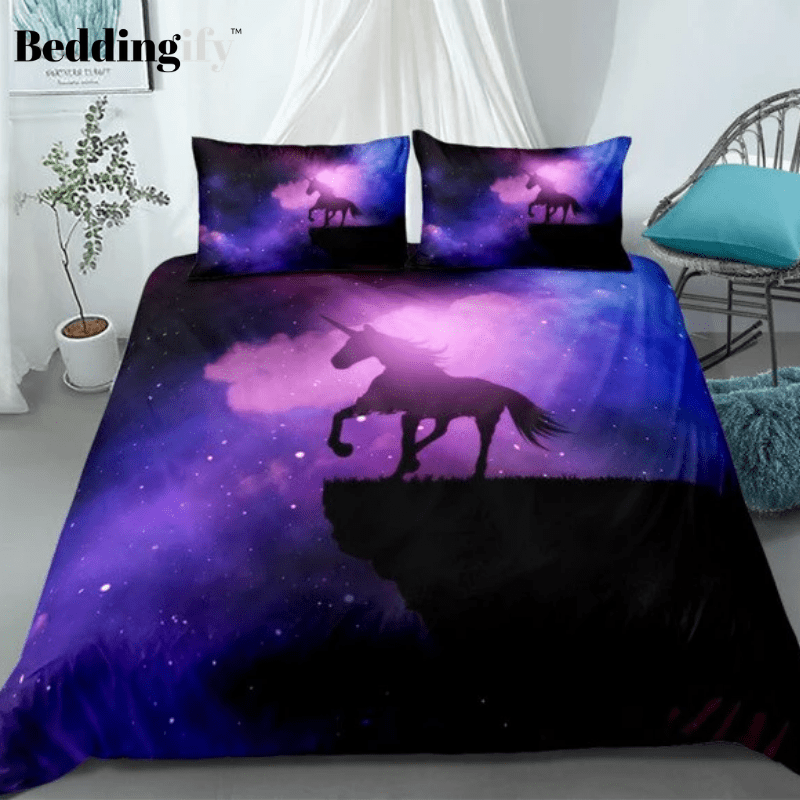 Purple Galaxy Unicorn Bedding Set - Beddingify