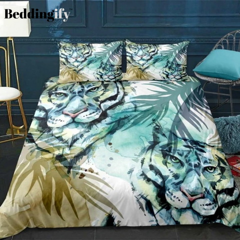 Image of Green Tropical Tiger Bedding Set - Beddingify