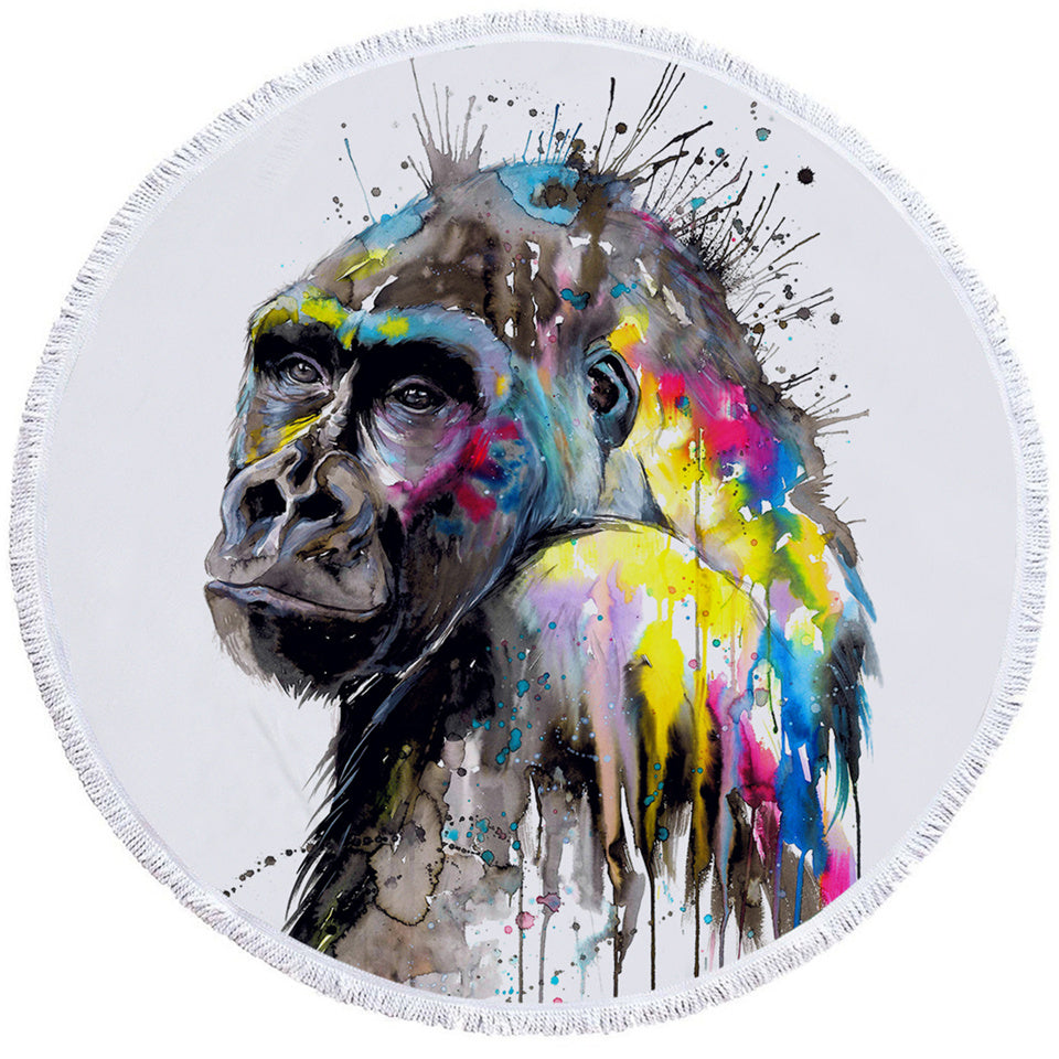 Color Drip Gorilla Round Beach Towel Set - Beddingify