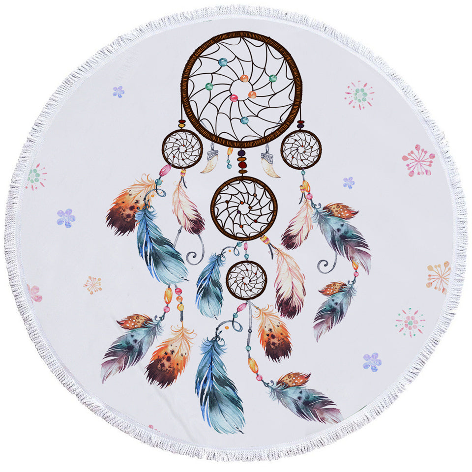 Spiral Dreamcatcher White Round Beach Towel Set