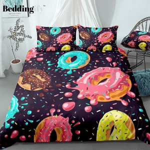 Pink Chocolate Donuts Bedding Set